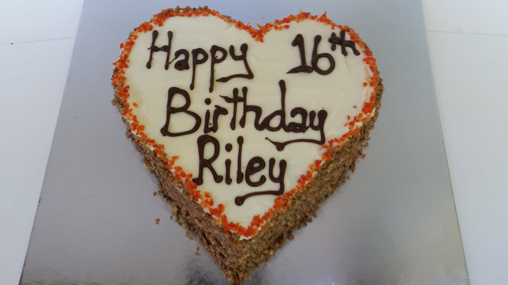 Heart Shaped Dog Birthday Cake with Carrot, Walnut and Cream Cheese