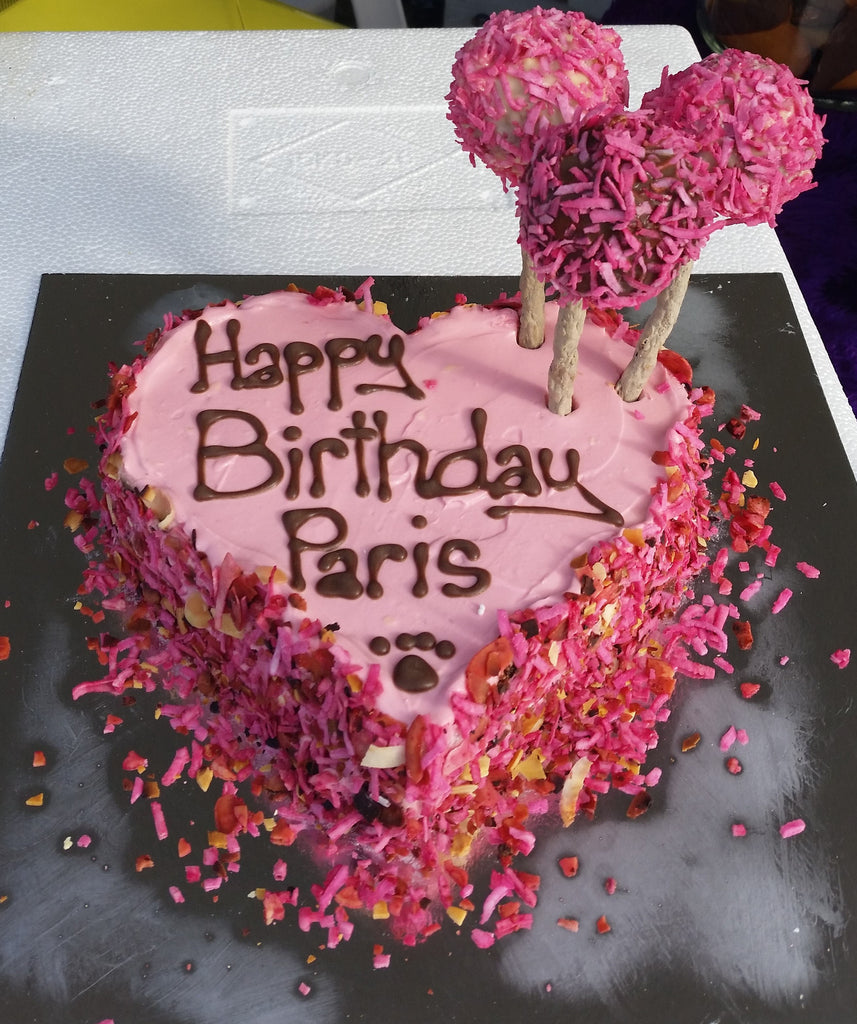 Pink Heart Birthday Cake With