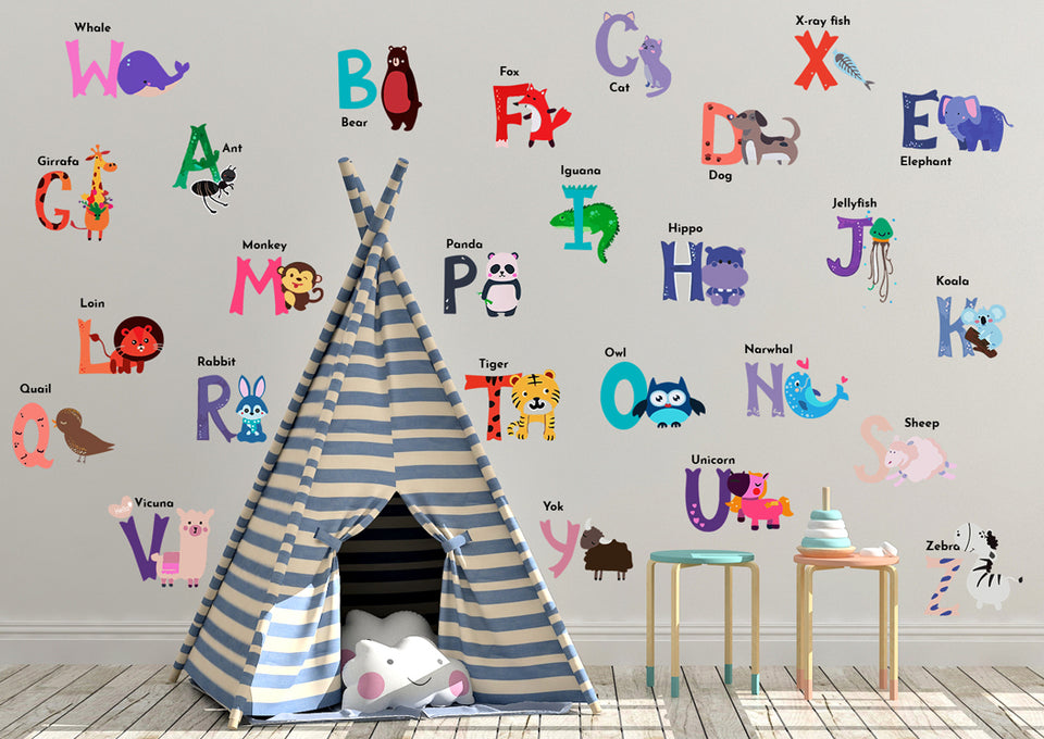 DEKOSH Baby Nursery Animal Alphabet Peel & Stick ABC Kids Wall Decals