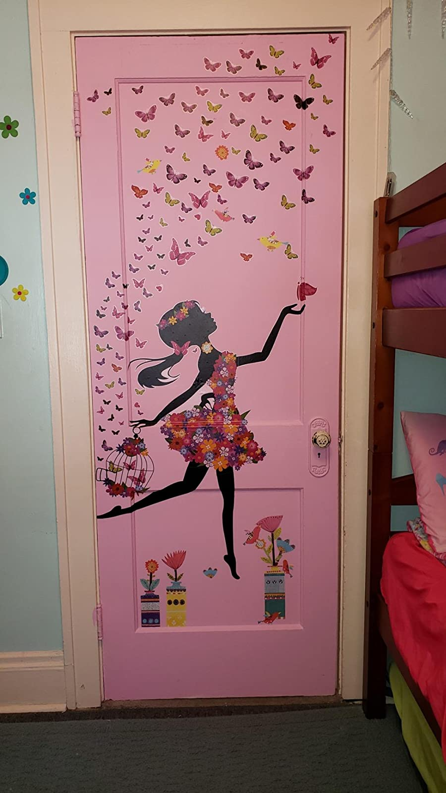 DEKOSH Girl Wall Decals for Baby Nursery | Black Girl with Cage & Butterflies