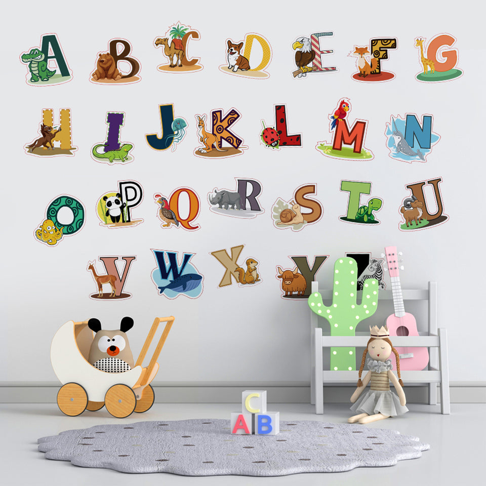 DEKOSH Alphabet Wall Decals - Colorful ABC Wall Stickers for Kindergarten, Classroom & Baby Nursery