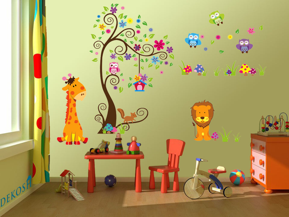 Colorful Jungle Theme Peel & Stick Wall Decal for Kids Room Wall Decor
