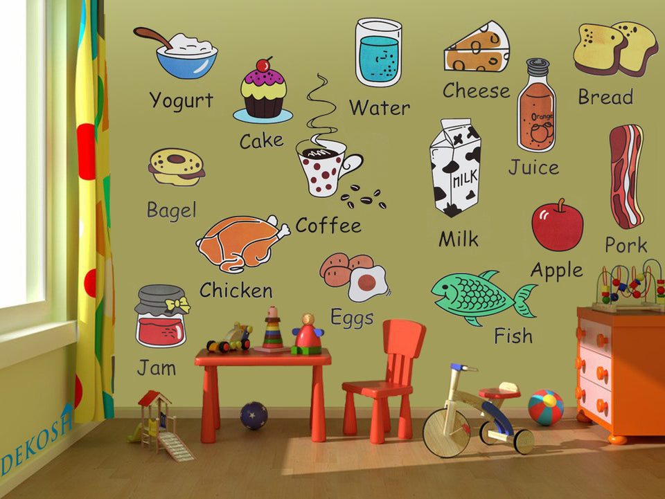 Kids Wall Decals Pack of 20 Peel & Stick Kitchen Stickers