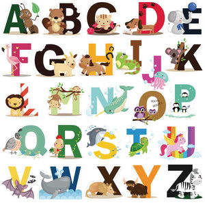 Educational Animal Alphabet Kids Wall Decals - Baby Nursery Decor Peel & Stick Decorative Baby Stickers for Playroom, Classroom Decoration