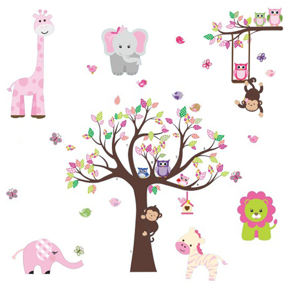 Pink Jungle Theme Peel & Stick Girl Nursery Wall Decals - Colorful Owl Giraffe Lion Tree Decorative Sticker for Baby Bedroom, Playroom Mural