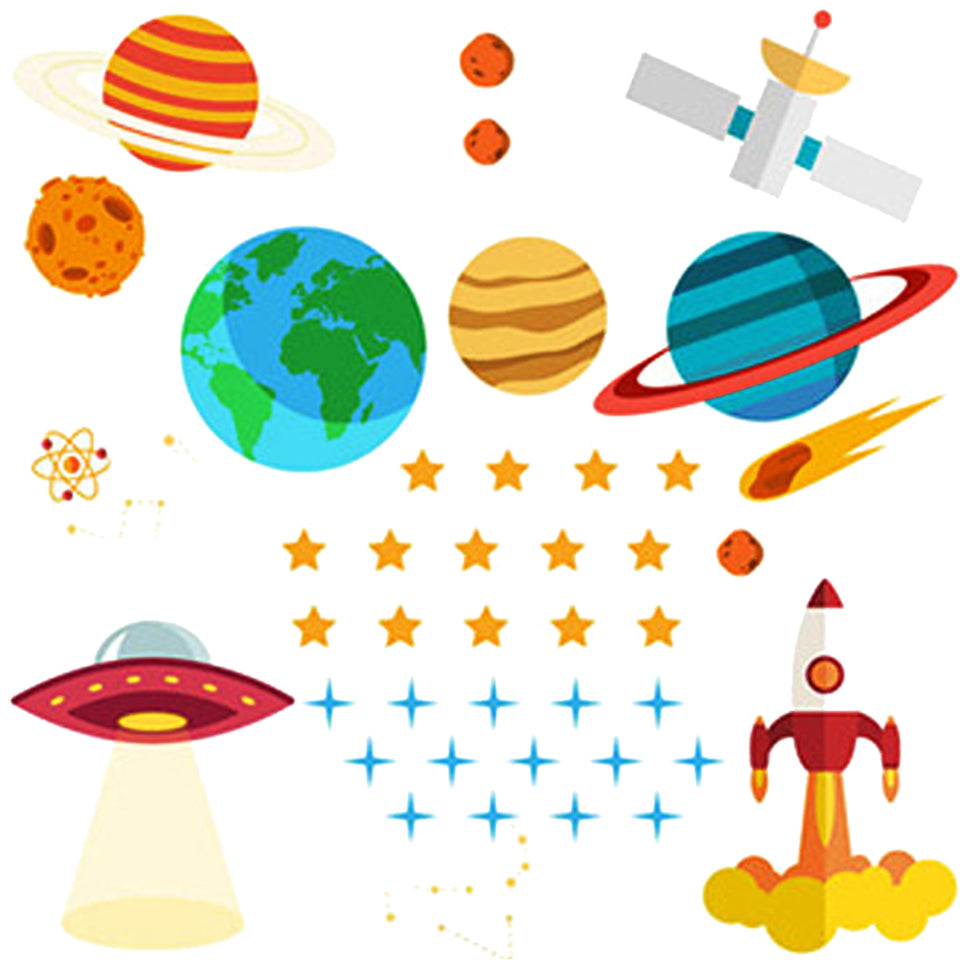 Space Explorer Baby Nursery Wall Decals | Colorful Kids Wall Stickers of Stars, Planets, Spaceship & Rocket for Nursery, Baby Bedroom