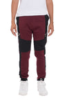 Two Tone Cotton Jogger Sweatpants - Burgundy & Black