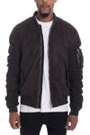 Faux Suede Bomber Jacket - Black