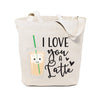 I Love You a Latte Cotton Canvas Tote Bag