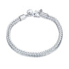 18K Plated White Gold Byzantine Chain Bracelet