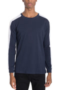 SIDE STRIPE LONG SLEEVE- NAVY