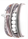 Cross and Pearl Multi Layer Magnetic Bracelet
