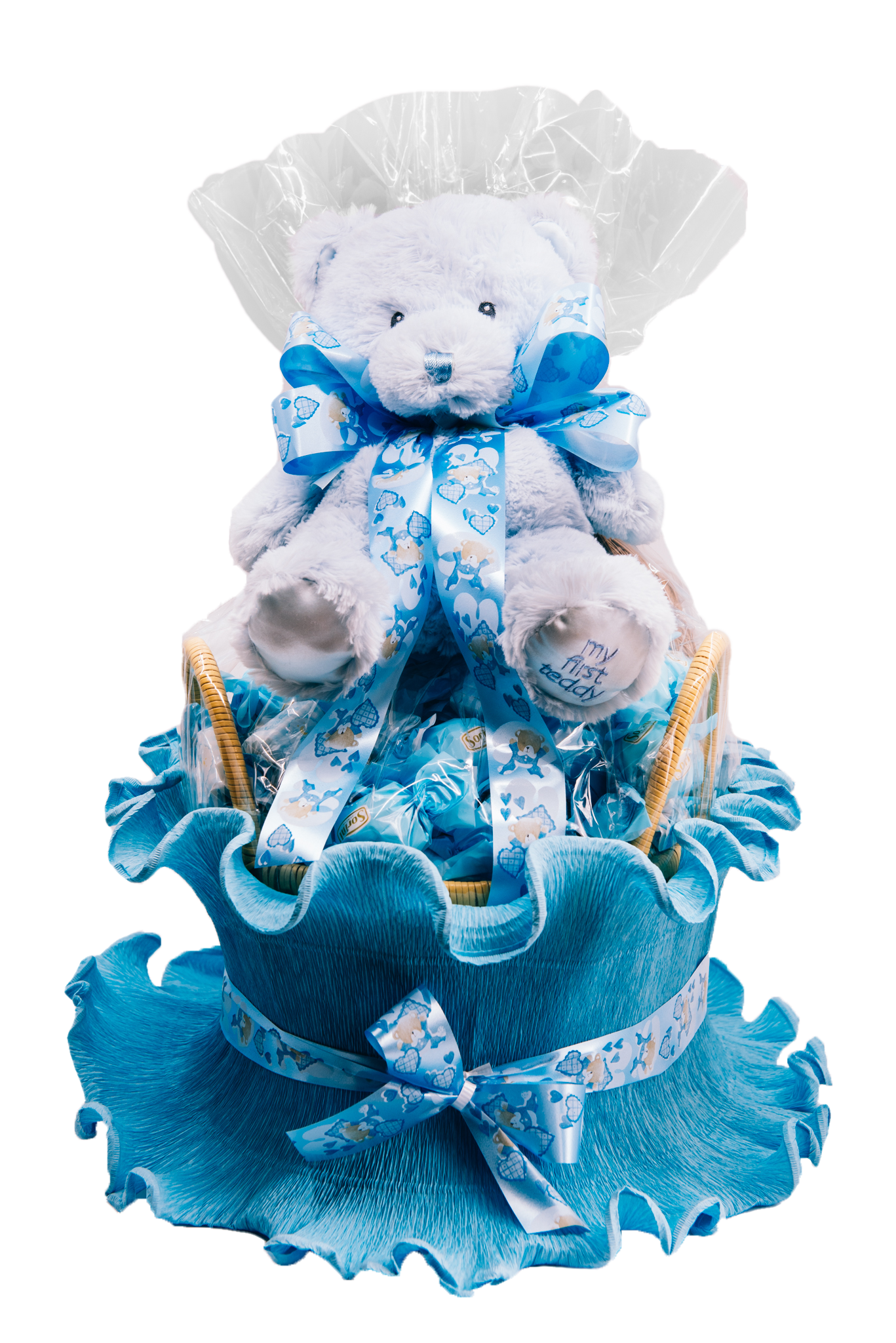 Baby Boy Cradle With Teddy Bear