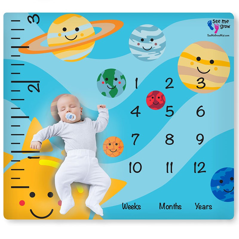 Smiling Planets Baby Milestone Blanket