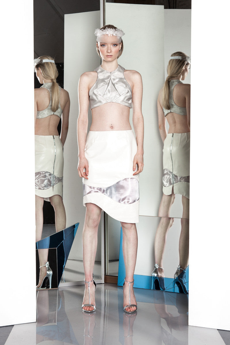 SILVER FULCRUM TOP & IVORY WAVELET SKIRT
