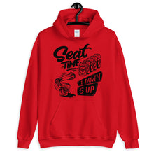 Load image into Gallery viewer, One Down, Five Up Motorcycle Hoodie | Red on Hanger