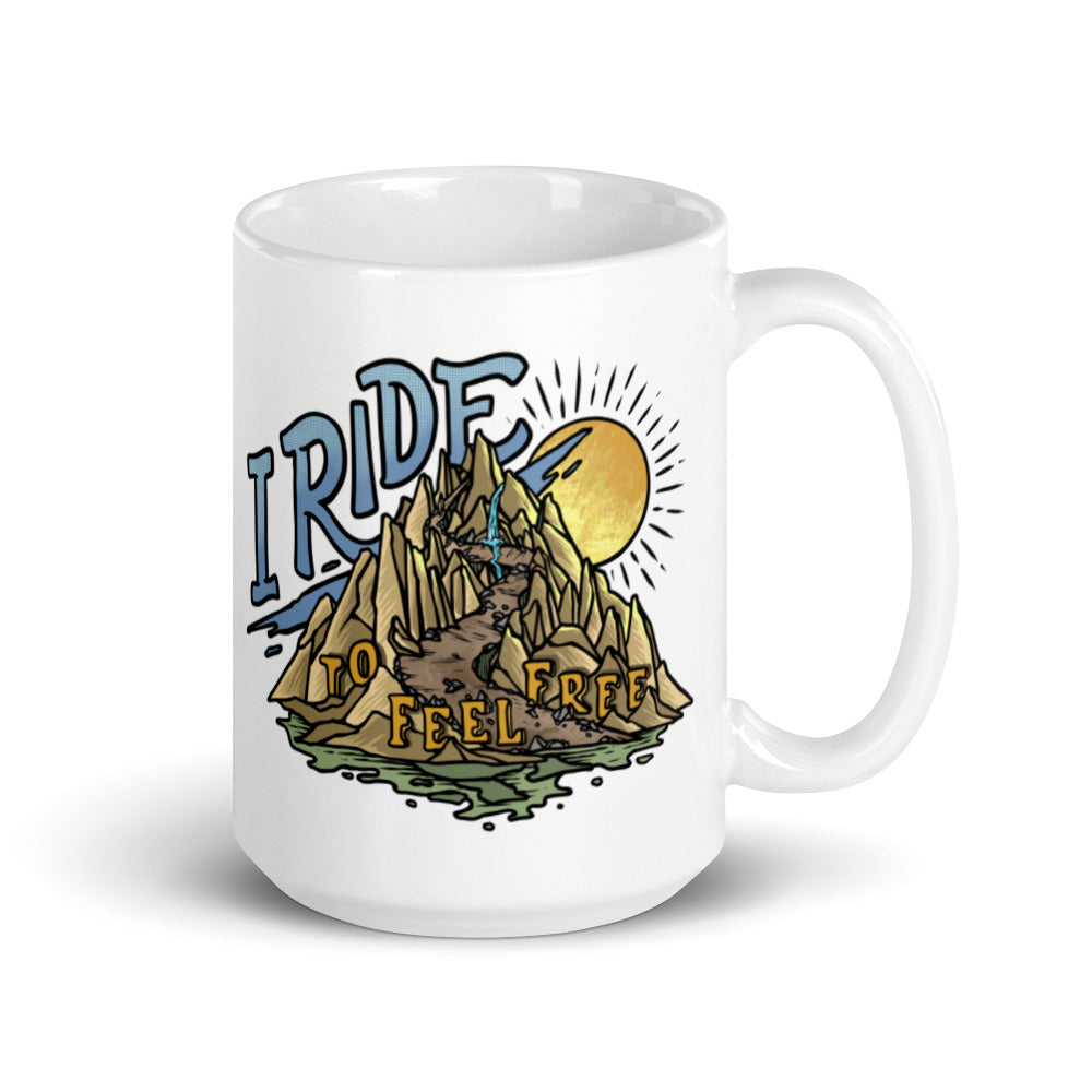 I Ride to Feel Free 15oz Coffee Mug