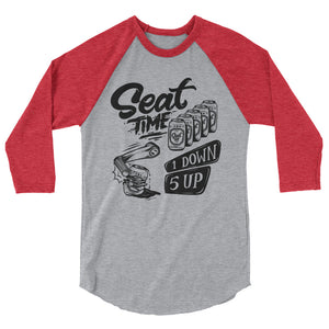 One Down, Five Up Shirt | Red and grey raglan laid out