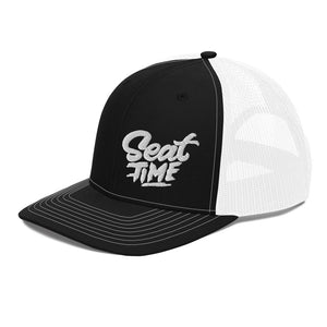 The Seat Time trucker hat is made to cover up that post-ride helmet hair, for intense bench racing sessions, or showcasing your magnificent mullet.
