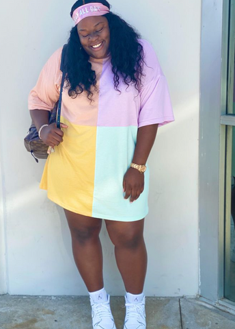 plus size t-shirt dress with sneakers
