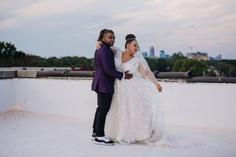 Plus size wedding dress with sneakers