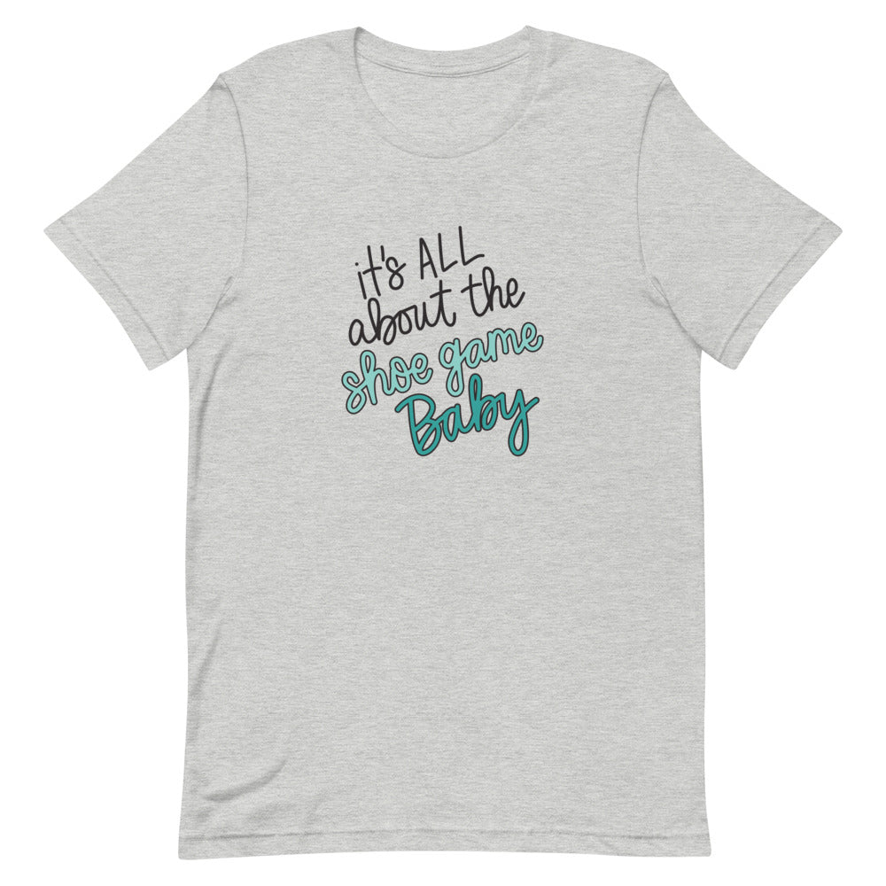 It's All About The Shoe Game Baby Unisex T-Shirt (Turquoise Print)