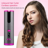 Portable USB Cordless Automatic Hair Curler with a girl