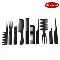 Professional Hair Brush Combs 10pcs black