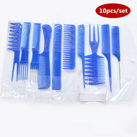 Professional Hair Brush Combs 10 pcs blue