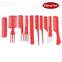 Professional Hair Brush Combs 10 pcs red