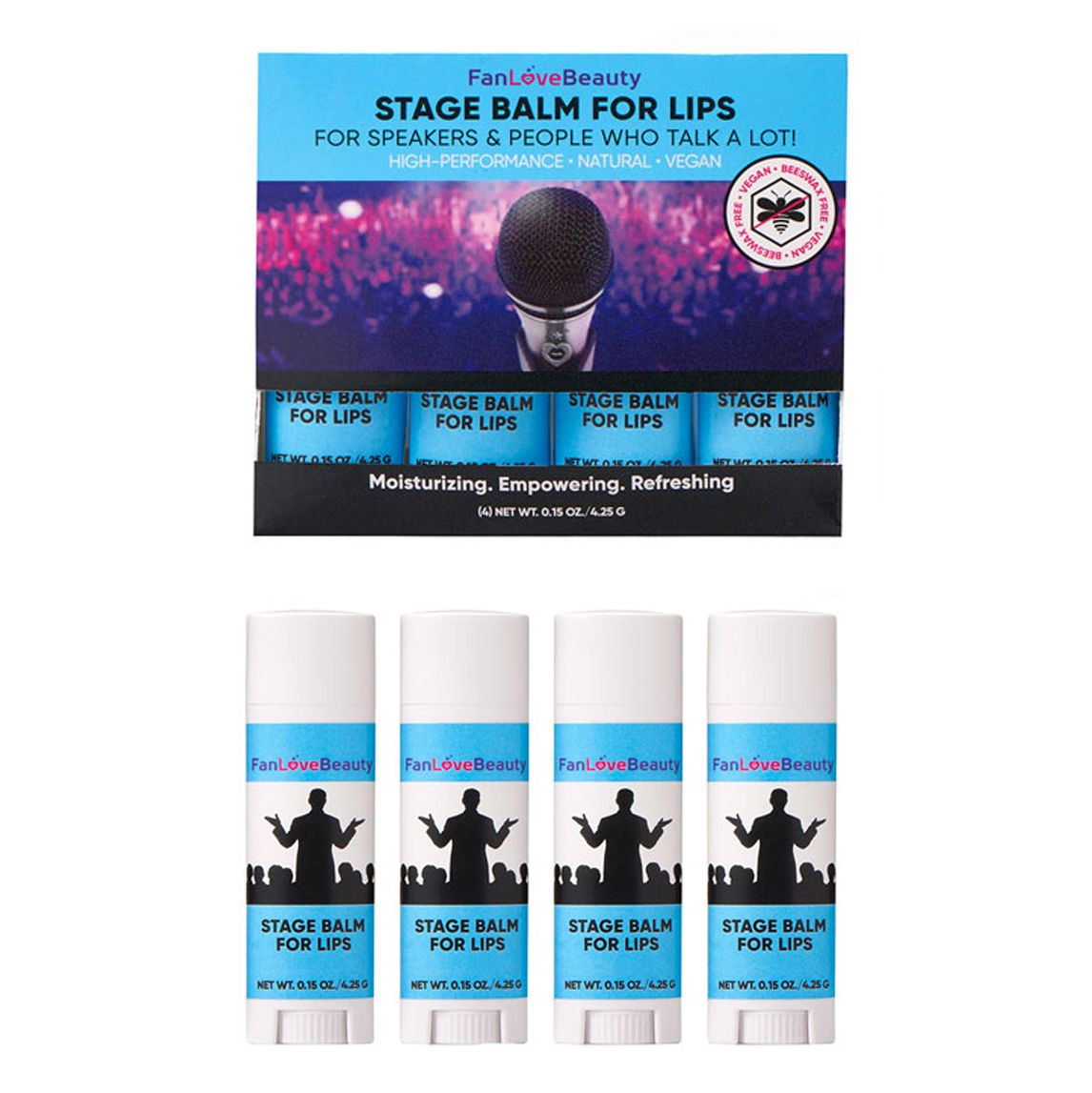 Limited Edition: 4 Pack Untinted Stage Balm for Lips - FanLoveBeauty Empowers Confidence Through Beauty