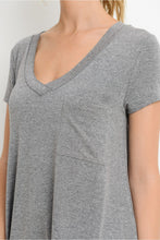 Load image into Gallery viewer, Longline Deep V-Neck Pocket Shirt - Heather Grey