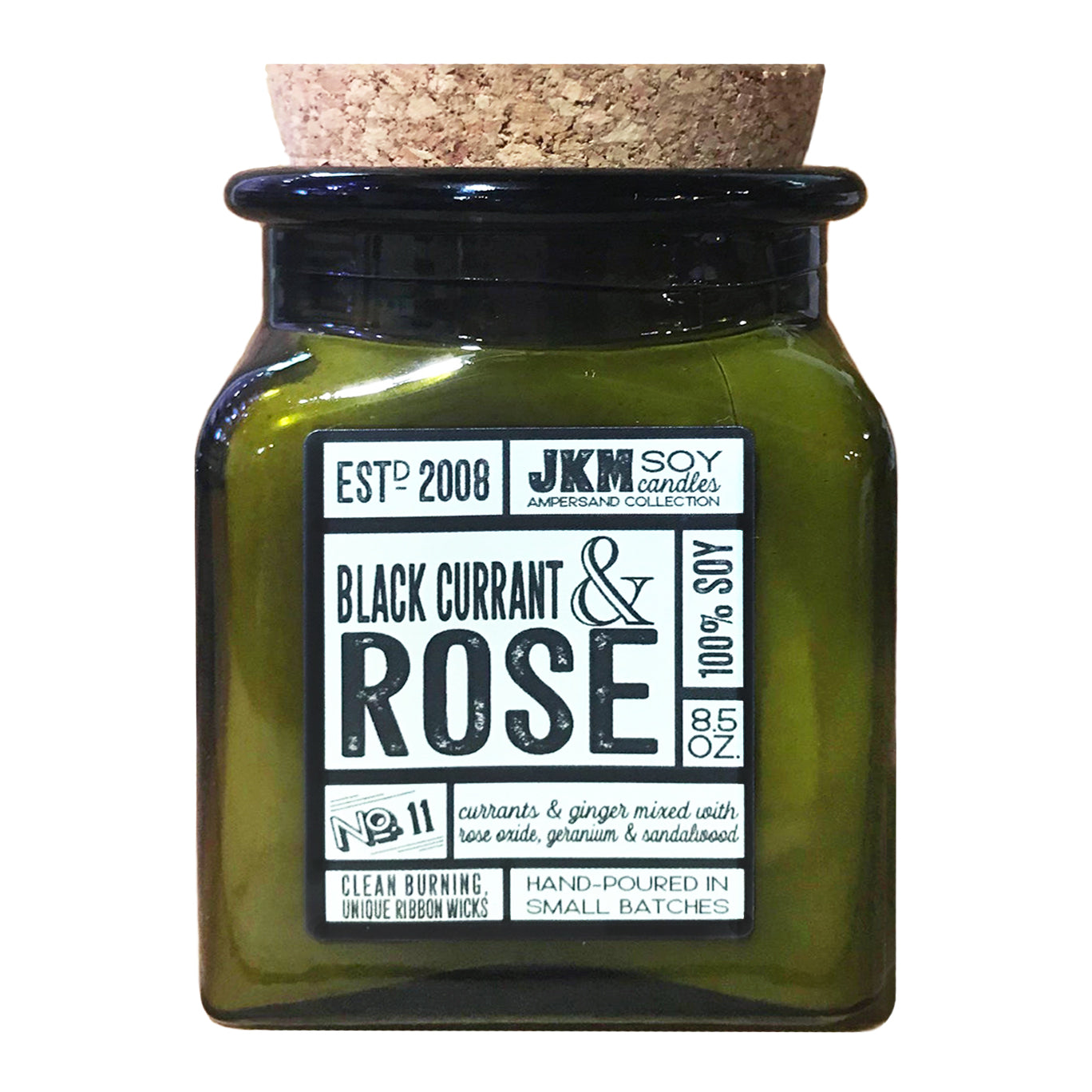 JKM Black Currant & Rose Soy Candle - 8.5 oz.