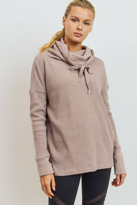 Waffle Knit Drawstring Cowl Neck Pullover Sweatshirt - Almond