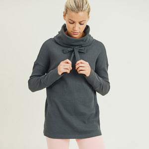 Waffle Knit Drawstring Cowl Neck Pullover Sweatshirt - Kale