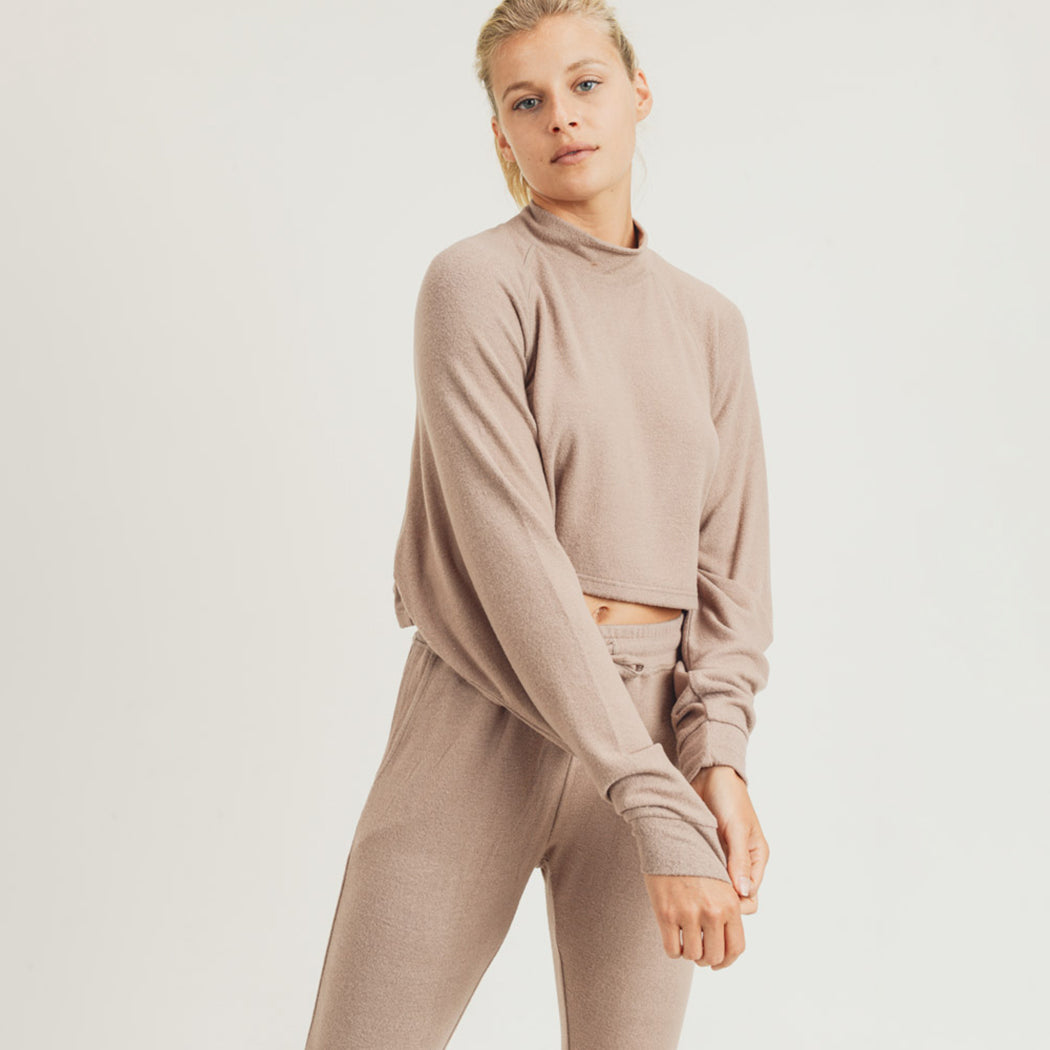 Cropped Fuzzy Boxy Raglan Long Sleeve Top Shallow Turtleneck - Mushroom