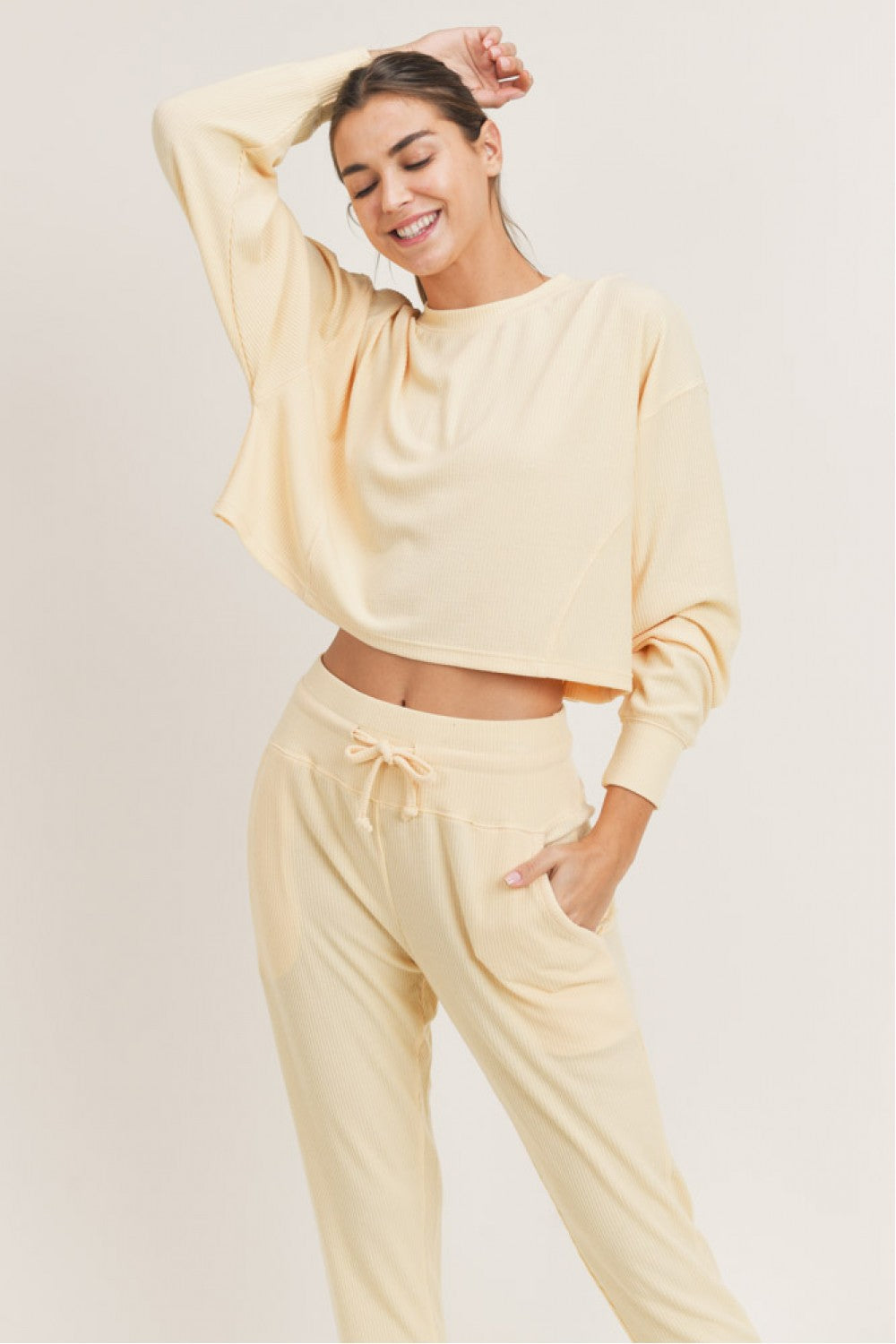 All-Over Ribbed Cropped Pullover - Lemonade
