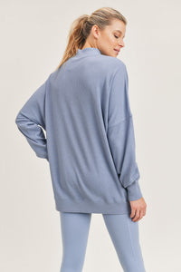 Waffled Longline Dolman Pullover with Pockets - Ocean