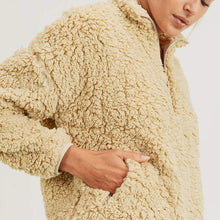 Load image into Gallery viewer, Sherpa Cropped Half-Zip Jacket - Camel