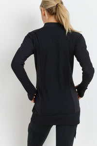 Ribbed & Smooth Zip-Up Longline Jacket - Black