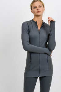 Ribbed & Smooth Zip-Up Longline Jacket - Kale