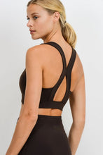 Load image into Gallery viewer, Suspended X Cross Back Racerback Sports Bra - Coffee