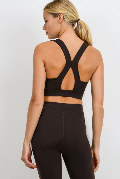 Suspended X Cross Back Racerback Sports Bra - Coffee