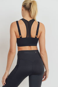 Eco-Green Harness Mesh Hybrid Racerback Sports Bra - Black