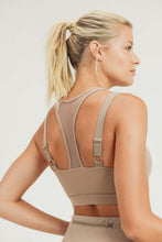 Load image into Gallery viewer, Eco-Green Harness Mesh Hybrid Racerback Sports Bra - Mushroom