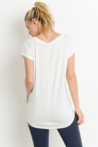 'The Essential Tee' Round Neck Cap Sleeve T-Shirt - White