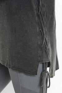Mineral Wash Side Lace-Up Long Sleeve Tunic - Charcoal