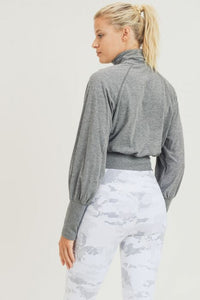 Cropped Turtleneck Top with Raglan Bishop Sleeves - Heather Grey
