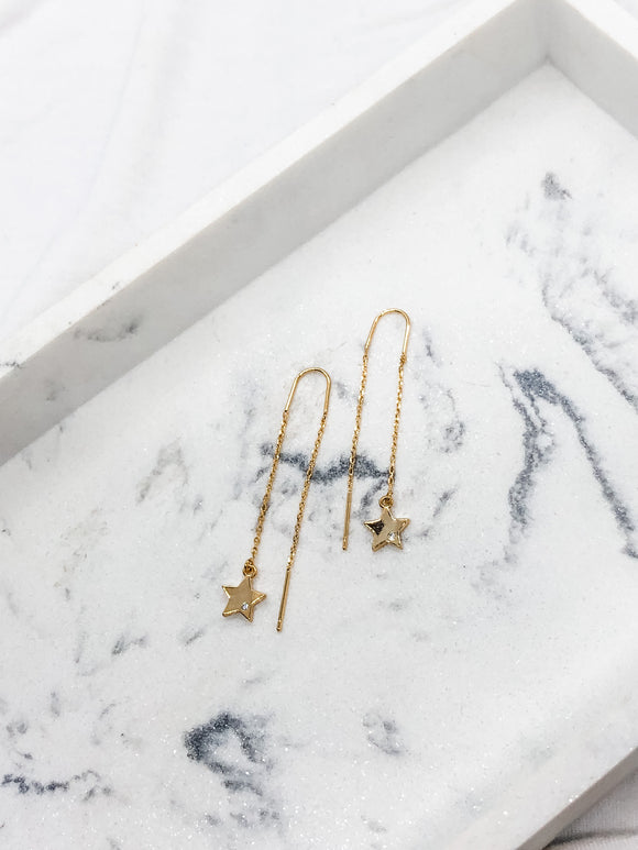 Dainty Star CZ Threader Earrings