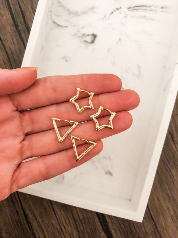 Mini Huggie Earrings Triangle or Star in Gold Plated